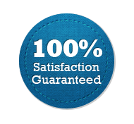 Satisfaction Guarantee 100% - Circle Badge Blue